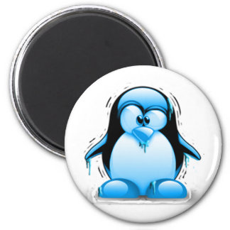 Shivering Cold Blue Tux 2 Inch Round Magnet
