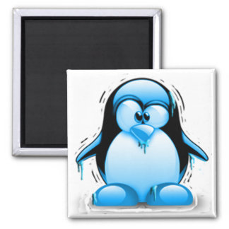 Shivering Cold Blue Tux 2 Inch Square Magnet