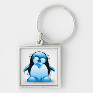 Shivering Cold Blue Tux Silver-Colored Square Keychain