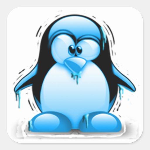 Shivering Cold Blue Tux Square Sticker | Zazzle