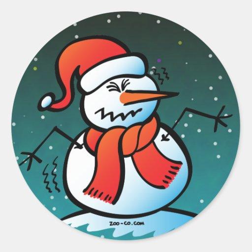 Shivering Snowman Round Sticker
