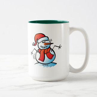 Shivering Snowman Two-Tone Coffee Mug
