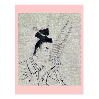 Shō (Ch mus inst) - musician of higher rank Ukiyo- Postcard