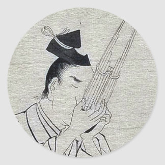 Shō (Ch mus inst) - musician of higher rank Ukiyo- Classic Round Sticker