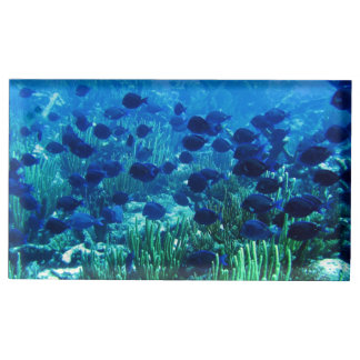 Shoal of Blue Discus Fish Table Card Holder