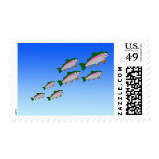 Shoal of trout postage