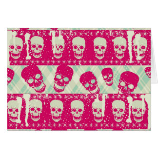 Shock pink and lime green skull pattern products card