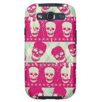 Shock pink and lime green skull pattern products samsung galaxy s3 case
