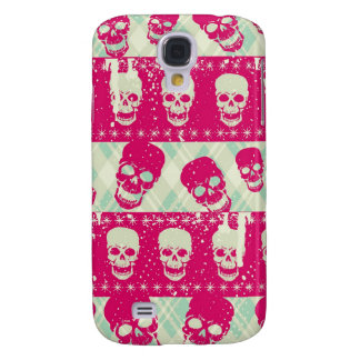 Shock pink and lime green skull pattern products samsung galaxy s4 cover