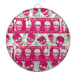 Shock pink and lime green skull pattern products dartboards