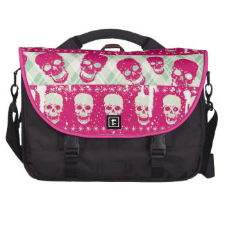 Shock pink and lime green skull pattern products computer bag