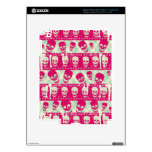 Shock pink and lime green skull pattern products iPad 3 skin