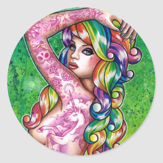 Shock Tart Rainbow Pin Up Girl Classic Round Sticker