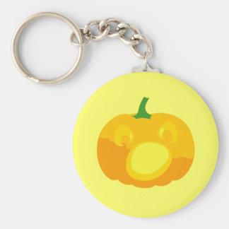 Shocked and Surprised Jack-O-'Lantern Basic Round Button Keychain