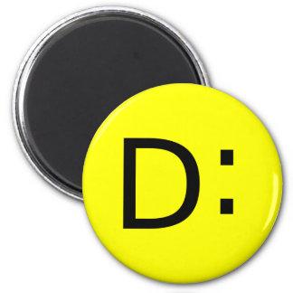 Shocked Emoticon 2 Inch Round Magnet