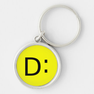 Shocked Emoticon Silver-Colored Round Keychain