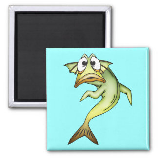 Shocked Fish 2 Inch Square Magnet
