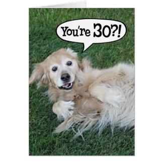 Shocked Golden Retriever 30th Birthday Card