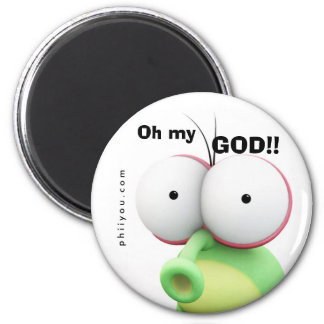 "Shocked ""Oh my GOD!!"" 2 Inch Round Magnet"