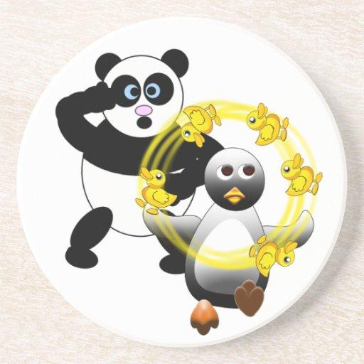 SHOCKED PANDA ~ PENGUIN JUGGLING DUCKS BEVERAGE COASTER