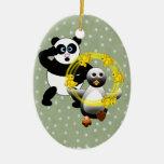 SHOCKED PANDA ~ PENGUIN JUGGLING DUCKS CHRISTMAS ORNAMENTS