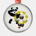 SHOCKED PANDA ~ PENGUIN JUGGLING DUCKS CHRISTMAS TREE ORNAMENT