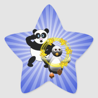 SHOCKED PANDA ~ PENGUIN JUGGLING DUCKS STAR STICKER