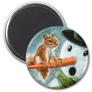 Shocked snowman squirrel Magnet