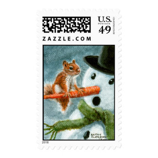 Shocked Snowman Squirrel Postage Stamp