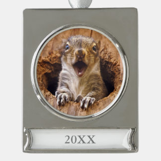 Shocked Squirrel Silver Plated Banner Ornament