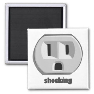 Shocking Electricity Wall Outlet 2 Inch Square Magnet
