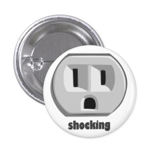 Shocking Electricity Wall Outlet Pinback Button