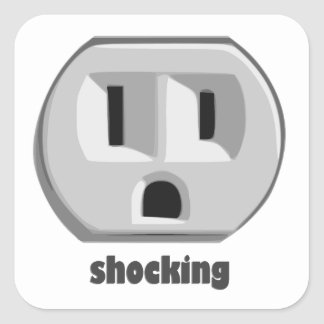Shocking Electricity Wall Outlet Square Sticker