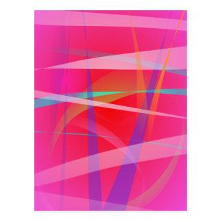 Shocking Pink Abstract Art Postcard
