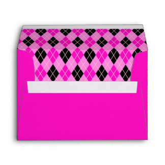 Shocking Pink and Black Argyle Envelope