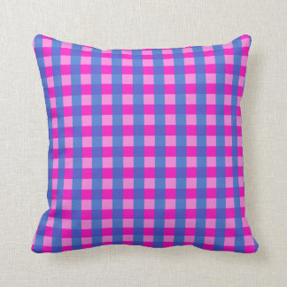 Shocking Pink and Blue Gingham Pattern Pillow