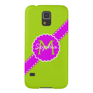 Shocking Pink and Lime Green Monogram Case For Galaxy S5