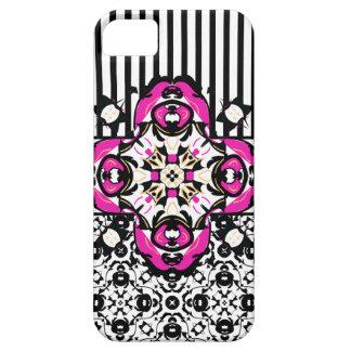 Shocking Pink, Black and White Decorative iPhone 5 Case