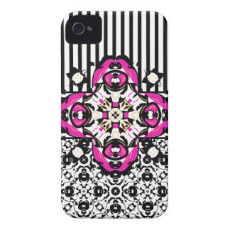 Shocking Pink, Black and White Decorative Case-Mate iPhone 4 Cases