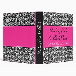 Shocking Pink & Black Bachelorette Party, Birthday Binder