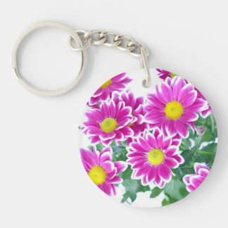 Shocking Pink Daisy Bouquet Double-Sided Round Acrylic Keychain