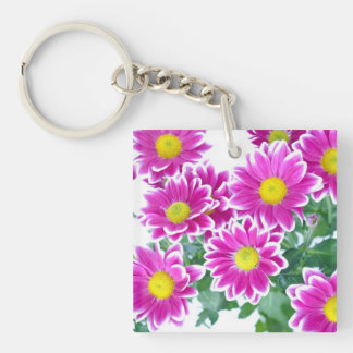 Shocking Pink Daisy Bouquet Double-Sided Square Acrylic Keychain