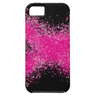 Shocking pink glitter confetti cross on black iPhone 5 covers