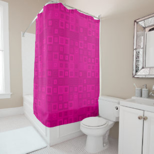 Shocking Pink Magenta Concentric Squares Pattern Shower Curtain
