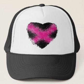 Shocking pink on black glitter dots heart cross trucker hat