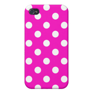 Shocking Pink Polka Dot Iphone Case Covers For iPhone 4