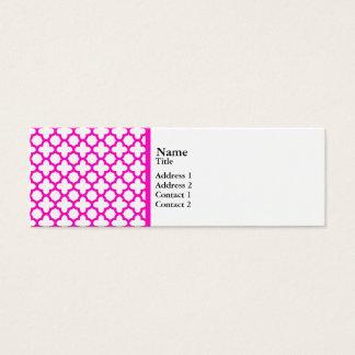 Shocking Pink Quatrefoil Pattern Mini Business Card