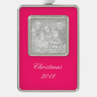Shocking Pink Solid Color Customize It Silver Plated Framed Ornament