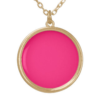 Shocking Pink Solid Color Round Pendant Necklace