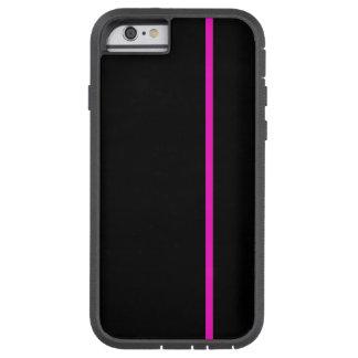 Shocking Pink Thin Vertical Line on Black Tough Xtreme iPhone 6 Case